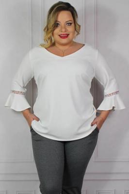 Bluzka elegancka plus size rękaw flamenco JUDYTA biała