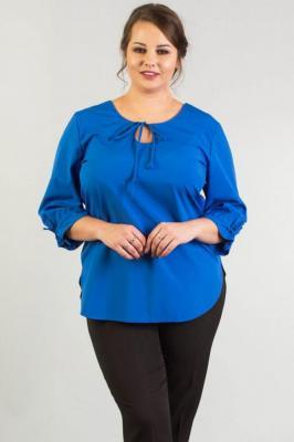 Bluzka elegancka MADLIN dekolt łezka wiązany kobaltowa