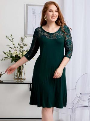 Sukienka koronkowy karczek plus size dzianinowa trapezowa KAROLINA butelkowa zieleń