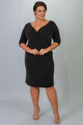 Sukienka POŁYSKUJĄCA plus size BONITA dekolt koperta czarna