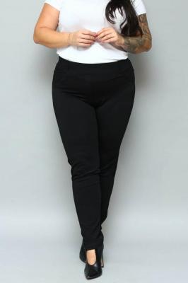 Spodnie dzianinowe czarne proste diamenciki na kieszeniach guma w pasie