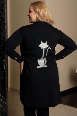 Koszula oversize dłuższy tył z nadrukiem kot MARIKA czarna