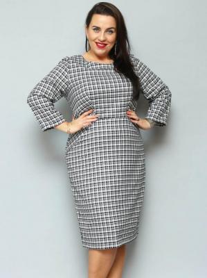 Sukienka ołówkowa KLARA wstawki w talii drobna czarno-biała kratka
