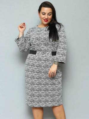 Sukienka LUNA ołowkowa odcinana pepitka czarno biała czarne wstawki w talii