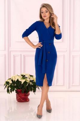 Niebieska Prosta Kopertowa Sukienka z Guzikami
