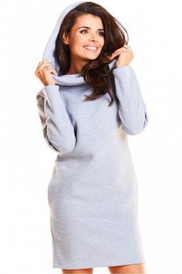 Dresowa sportowa sukienka z dużym kapturem - Szary