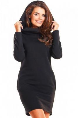 Dresowa sportowa sukienka z dużym kapturem - Czarny
