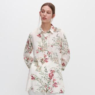 Reserved - Koszula w kwiaty - Kremowy