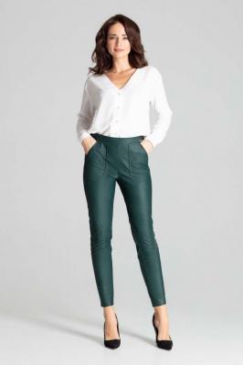Zielone Dopasowane Spodnie Skórzane na Gumie