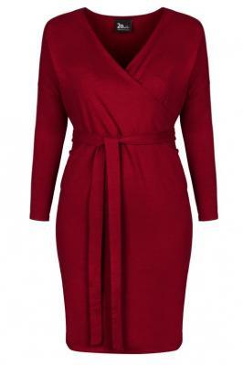 ELIZA WINE wygodna sukienka plus size z paskiem : size - 60/62
