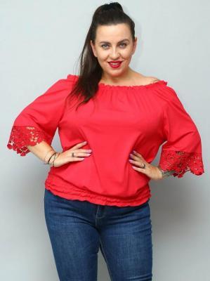 Bluzka hiszpanka plus size KARIM gipiura czerwona