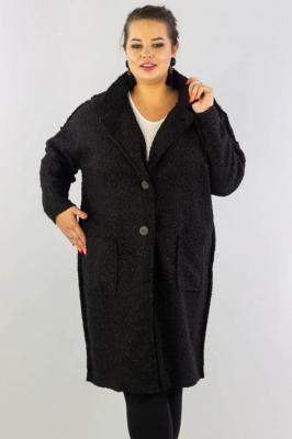 Płaszcz boucle GRETA wełniany fason pudełkowy ciepły czarny PROMOCJA