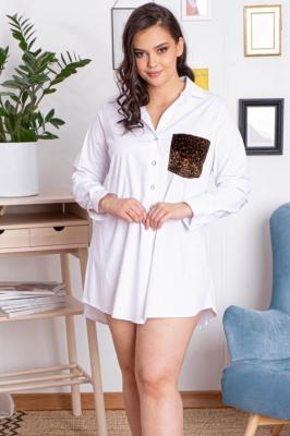 Koszula tunika rozpięcie polo plus size ANDREA z kieszonką w panterkę biała