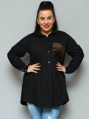 Koszula tunika rozpięcie polo duże rozmiary ANDREA z kieszonką w panterkę czarna