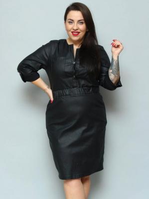 Sukienka eko skóra PLUS SIZE ołówkowa rozpięcie polo LOLITA czarna