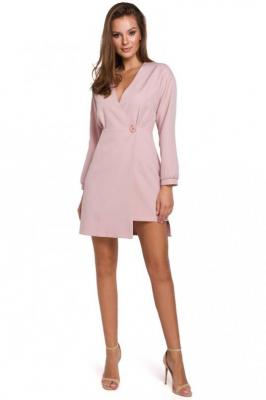 Różowa Asymetryczna Sukienka Kopertowa