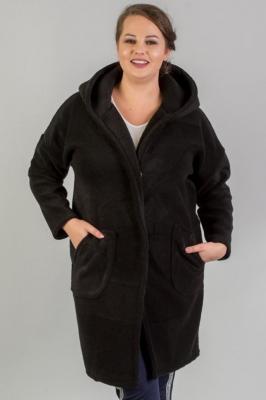 Płaszcz alpaka OFELIA wełniany ciepły puszysty kaptur czarny PROMOCJA