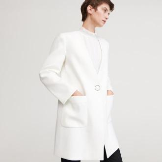 Reserved - Biały płaszcz - Kremowy