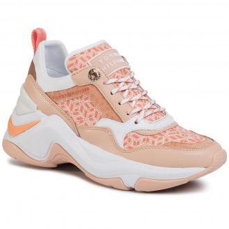 Sneakersy TOMMY HILFIGER - Internal Wedge Monogram Sneaker FW0FW04713 Island Coral SN7