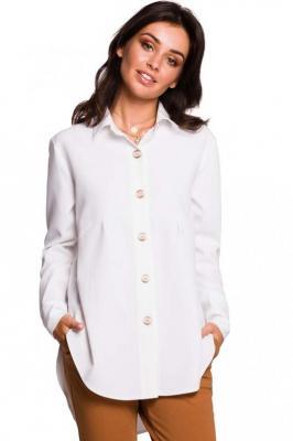 Biała Koszula o Wydłużonym Kroju z Ozdobnymi Guzikami
