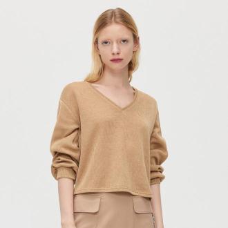 Cropp - Sweter z ozdobnym dekoltem na plecach - Beżowy