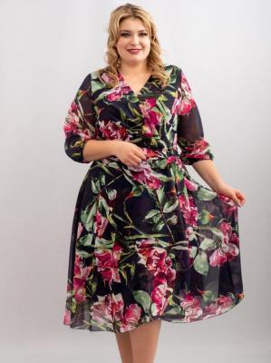 Sukienka kopertowa rozkloszowana szyfonowa SELENA granat w kwiaty i liście akwarela