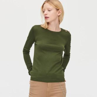 Cropp - Sweter z guzikami - Khaki