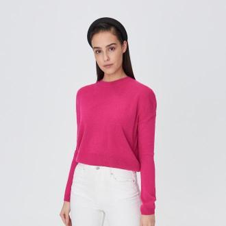 Sinsay - Krótki sweter - Różowy