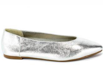 Baleriny Verano 388-4010 Silver Cristal Srebrny Skóra