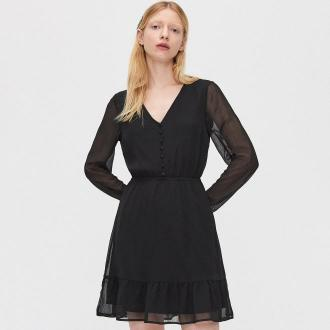 Cropp - Szyfonowa sukienka - Czarny