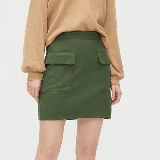 Cropp - Spódnica mini z łańcuchem - Khaki