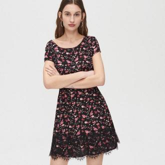 Cropp - Sukienka mini w kwiaty - Czarny