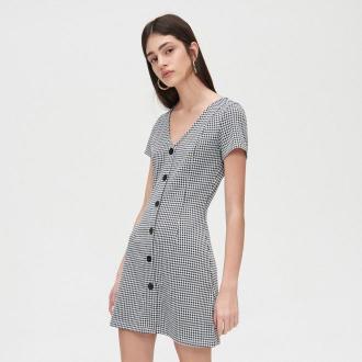 Cropp - Sukienka mini w kratkę - Czarny