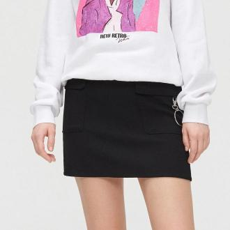 Cropp - Spódnica mini z łańcuchem - Czarny