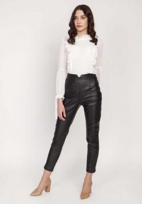 Czarne Skórzane Spodnie z Wysokim Stanem