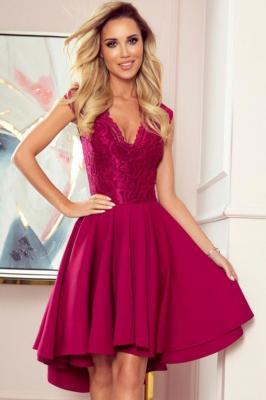 Ekskluzywna asymetryczna sukienka z koronkową górą