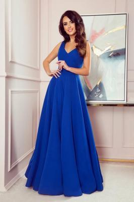 Długa wieczorowa rozkloszowana suknia balowa z podkreśloną talią