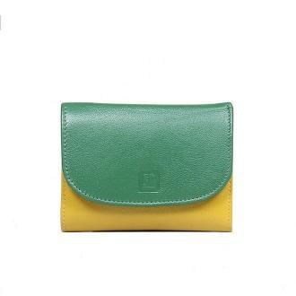portfel skórzany zielono-pomarańczowy