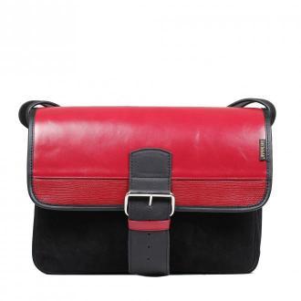 torba skórzana Student na ramię listonoszka czarno-czerwona