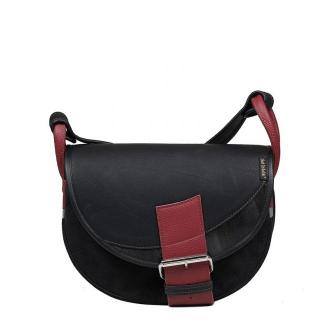 torebka damska skórzana Freshman Mini na ramię listonoszka czarno-czerwona