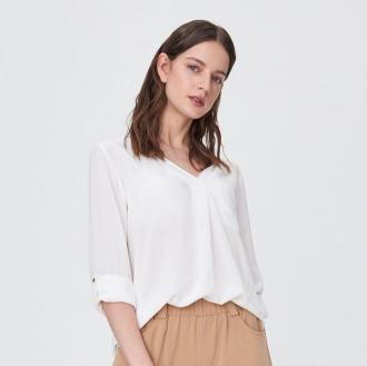 Sinsay - Gładka koszula oversize z wiskozy - Kremowy