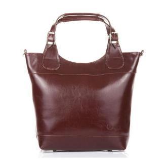Torebka elegancka PAOLO PERUZZI SHOPPER BAG skóra naturalna brązowa