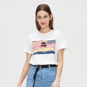 Cropp - Koszulka oversize z grafiką - Biały