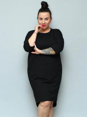 Sukienka dresowa wygodna dłuższy tył plus size ODETA czarna