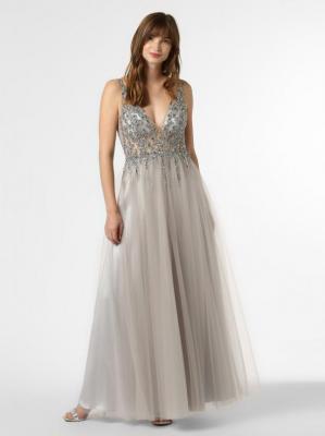 Mascara - Damska sukienka wieczorowa z etolą, szary