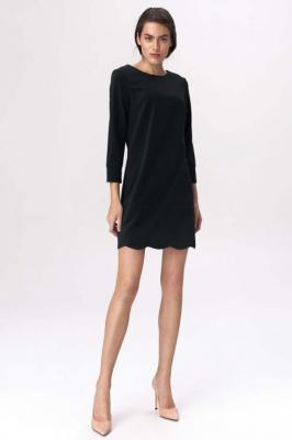 Czarna Wizytowa Sukienka Wykończona Atrakcyjnym Wycięciem