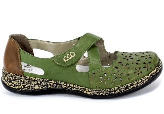 Sandały Rieker 463H4-52 Green Zielony Skóra