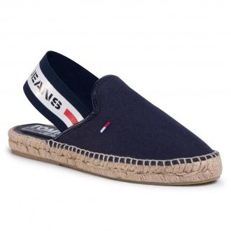 Espadryle TOMMY JEANS - Chunky Tape Slingback Espadrille FF2746 Twilight Navy C87