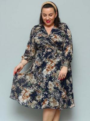 Sukienka szyfonowa kopertowa rozkloszowana NATALY granatowa w beżowe bukiety bzu