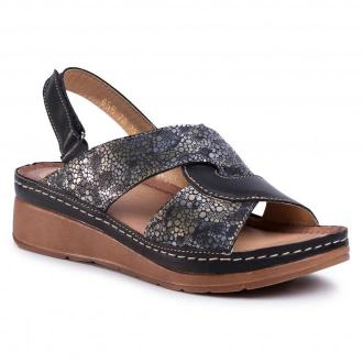 Sandały WALDI - 0656 Czarny/Krople Deszczu Na Czarnym Nubuku